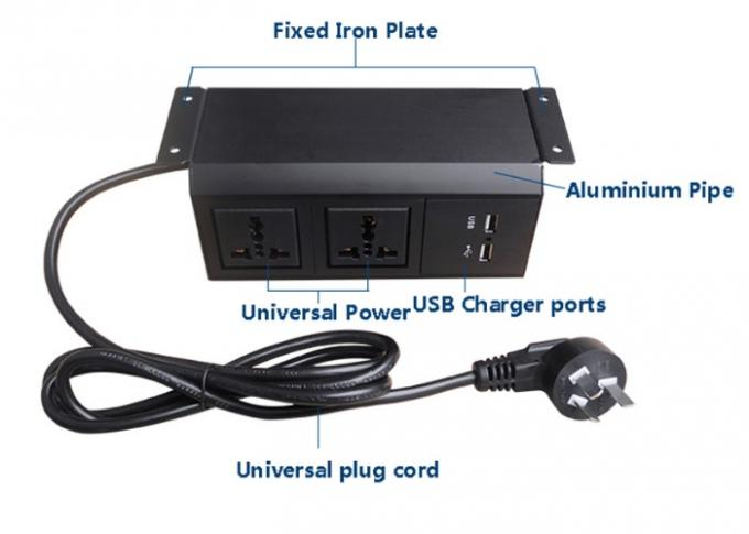 CE / RoHS Certificate  Under Desk Power Strip With 2*Universal Power+USB Chargers