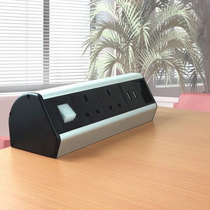 Desktop Rack Mount Power Strip , Desk Mounted Power Sockets Electroplate Surface Treated