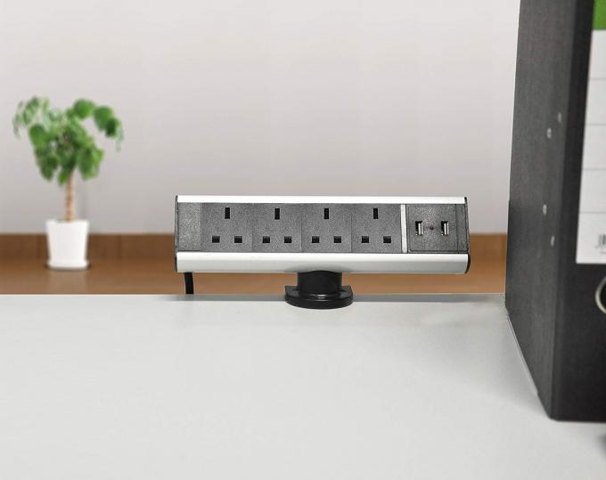 UK Power Wall Mount Power Strip Four Way Black Silver Color Convenient To Install