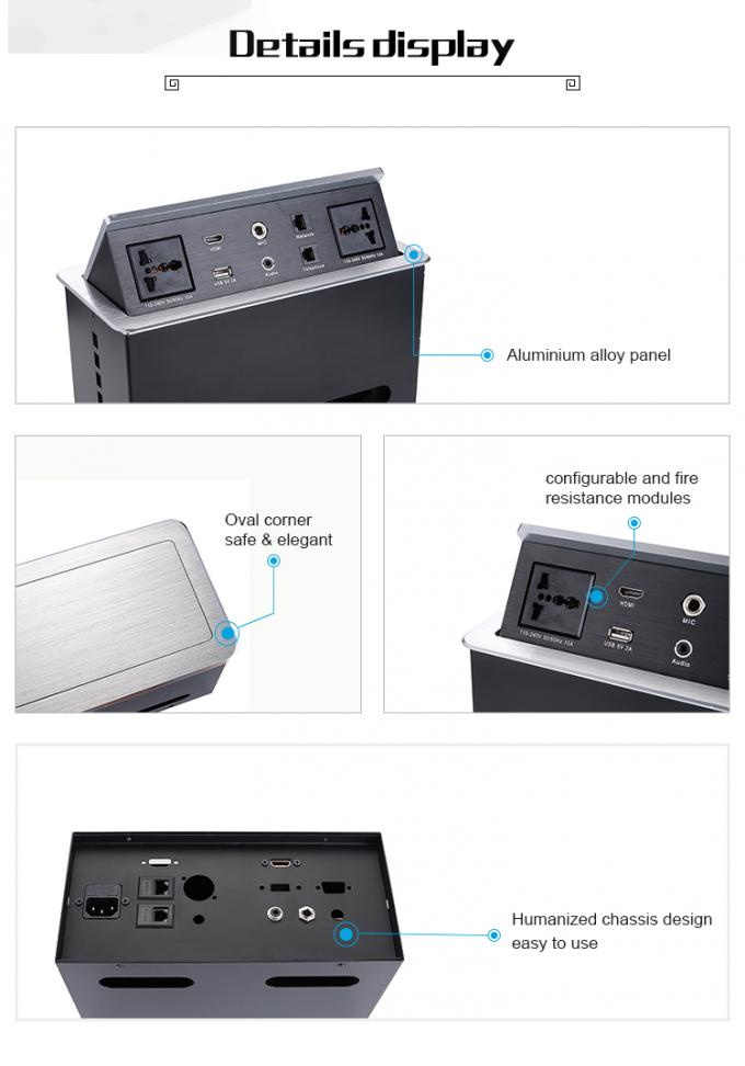 Conference Table Pop Up Box Data And Power Socket With Usb Control Box / Desk Power Outlet