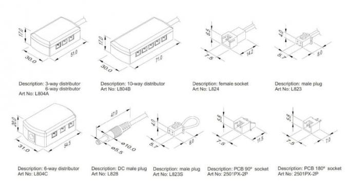 30V 10A Cable Cubby Box , Kitchen Cabinet Lighting One Into Four Out Junction Box XH Terminal JST Power Connector