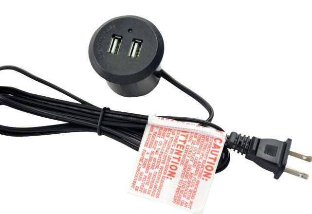 5V 2A Adapter Furniture Charger Table USB Socket Round Type Black Color