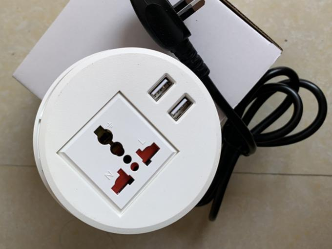 White color smart round universal power mobile USB charger tabletop power outlet / Desktop socket