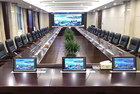 China Conference Room Desktop LCD Monitor Audio Microphone Lifting Mechanism Implicit LED Screen Display Office System factory