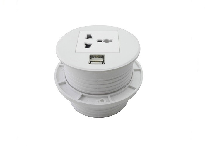 Ground Wire Round Power Socket Aluminum White Color Easy Installation