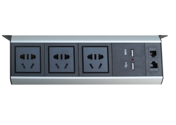 Universal Under Desk Power Strip Outlet With 2*USB Charger / 1*LAN