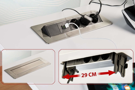 Easy Installation Desk Mounted Flip UP Sockets 4 Retractable Power Sockets