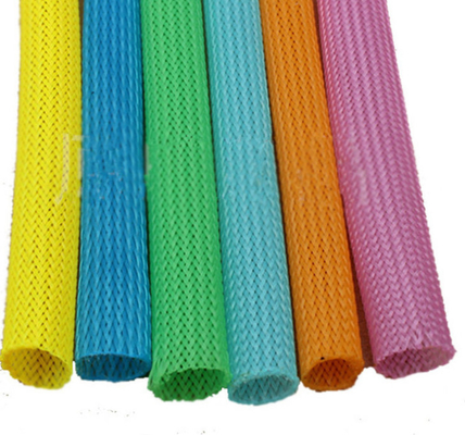 Automatic Telescopic 20mm Circular Braided Mesh Tube / Colored Round Snake Skin Mesh Protection Tube